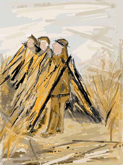 goose hunting blind viewed by an artis